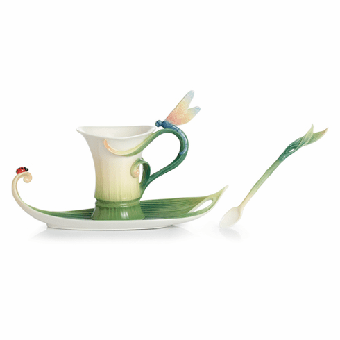 Franz Collection Porcelain Peace & Harmony Bamboo Cup, Saucer & Spoon Set