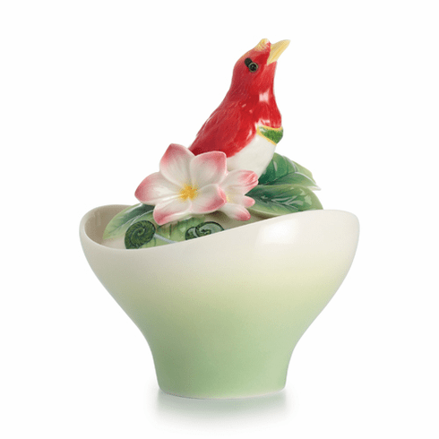 Franz Collection Porcelain Shangri-La Bird Of Paradise Flower Sugar Jar
