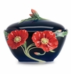 Franz Collection Porcelain The Serenity Poppy Flower Sugar Jar
