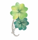 Franz Collection Rhodium Plated Brass Shamrock Pin