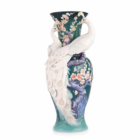 Franz Collection White Peacock Limited Edition Vase