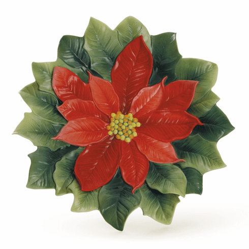 Franz Holiday Classic Poinsettia Small Ornamental Plate