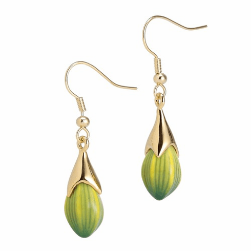 Franz Porcelain Collection Green Orchid Flower Earrings
