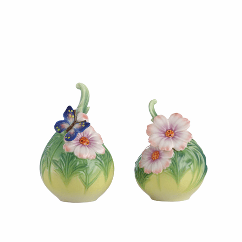 Franz Porcelain Cosmos Of Color - Butterfly Salt & Pepper Shakers