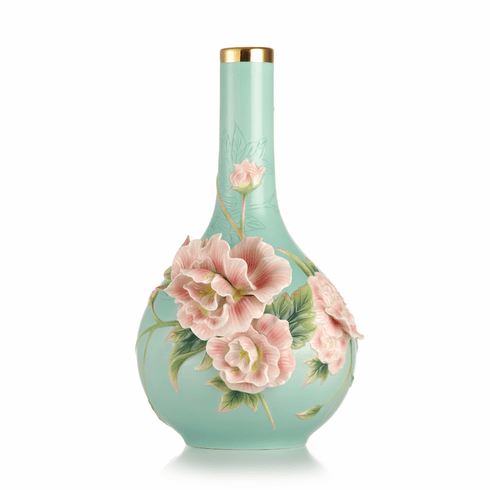 Franz Porcelain Elegance Cotton Rose Vase (Limited Edition 2,000)