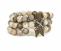 French Kande Bracelet Cafe Au Lait Brass Bar Silver X