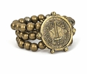 French Kande Bracelet Triple Metal Bead Du Terre Medallion