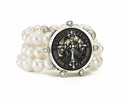 French Kande Bracelet Triple Pearl Silver Cross