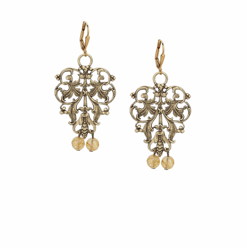 French Kande Brass French Filigree Earrings with Golden Mix Dangles