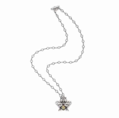 French Kande  Crystal Swarovski with Large Bee Pendant Necklace