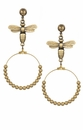French Kande Earrings Brass Hoop Drop Gold Bee