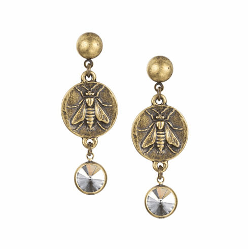 French Kande Earrings Brass Mini Abeille Crystal