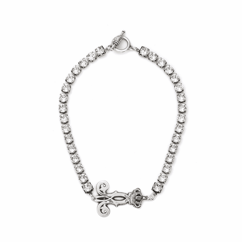 French Kande Large Cupchain Silver Crown Pendant Necklace 17 Inch