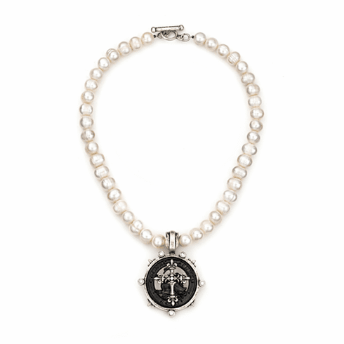 French Kande Necklace Freshwater Pearls  Silver Cross 17in.