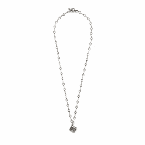 French Kande Necklace Silver Crystal Tronc pendant 28in.