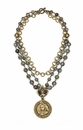 French Kande Necklace Triple Labradorite Immaculate Heart 16in.