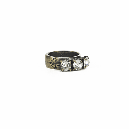 French Kande Ring Triple Crystal Brass Size 8