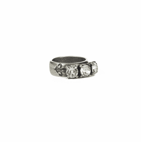 French Kande Ring Triple Crystal Silver Size 7