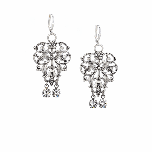 French Kande Silver French Filigree Earrings with Crystal Dangles