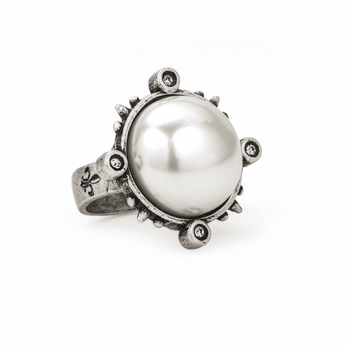 French Kande Sterling Clad Spike Bezel Ring with White Shell Pearl Ring - 8