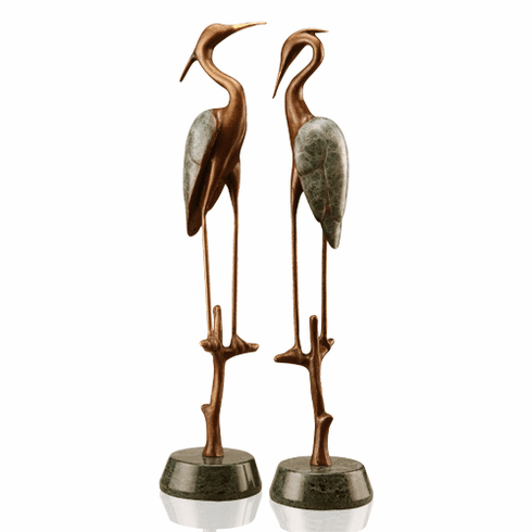 Gallery Brass and Marble Wetlands Crane Pair Sculptures by SPI Home