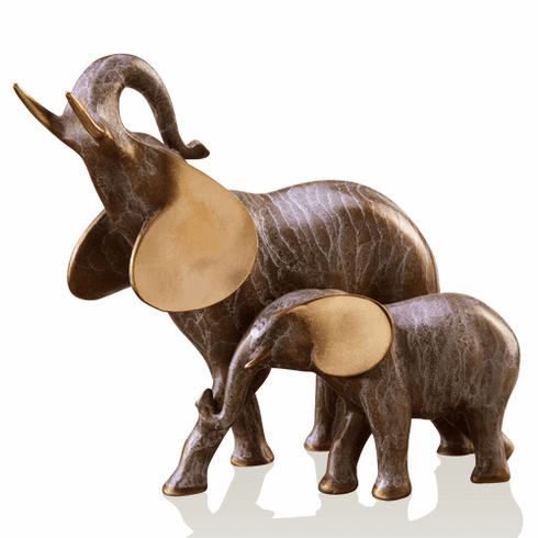 Gallery Brass Elephant Mama and Baby Sculpture by SPI Home