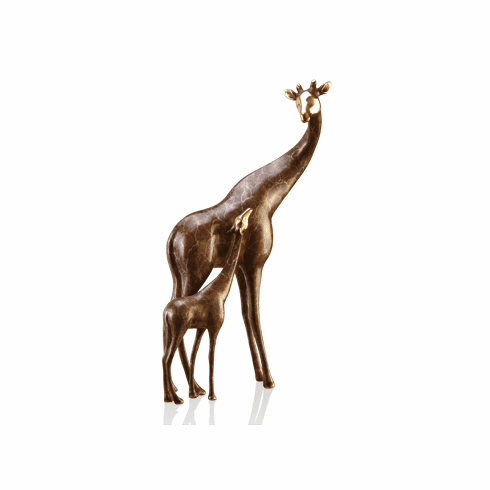 Gallery Brass Giraffe Mama and Baby Sculpture by SPI Home
