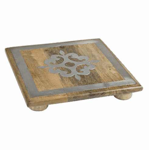 GG Collection 10 inch Wood Trivet with Metal Inlay