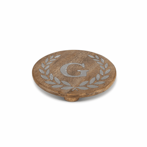 "GG Collection 10"" Round Mango Wood & Metal Trivet A"