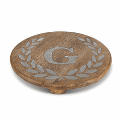 "GG Collection 10"" Round Mango Wood & Metal Trivet G"