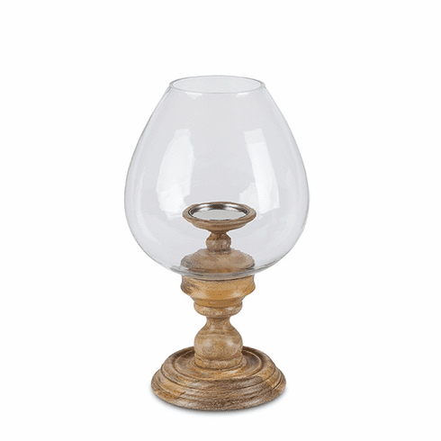 GG Collection 19H Wooden Candle Holder With Glass