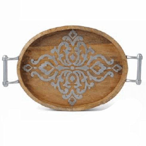 GG Collection 20.75 in. Wood & Metal Medium Oval Tray