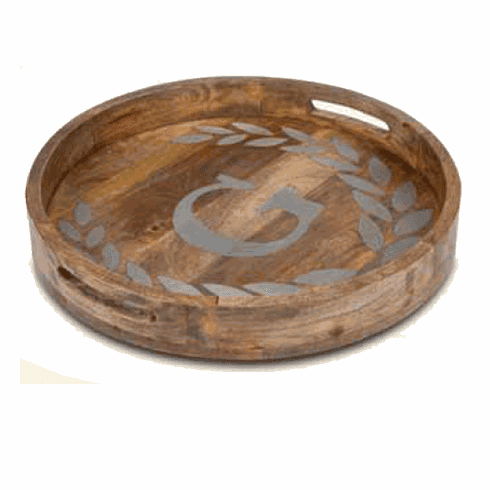 """GG Collection 20"""" Round Mango Wood & Metal Tray D"""