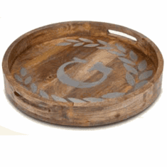"GG Collection 20"" Round Mango Wood & Metal Tray E"