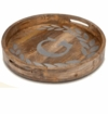 """GG Collection 20"""" Round Mango Wood & Metal Tray S"""