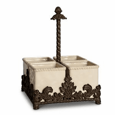 GG Collection Acanthus Ceramic Flatware Caddy
