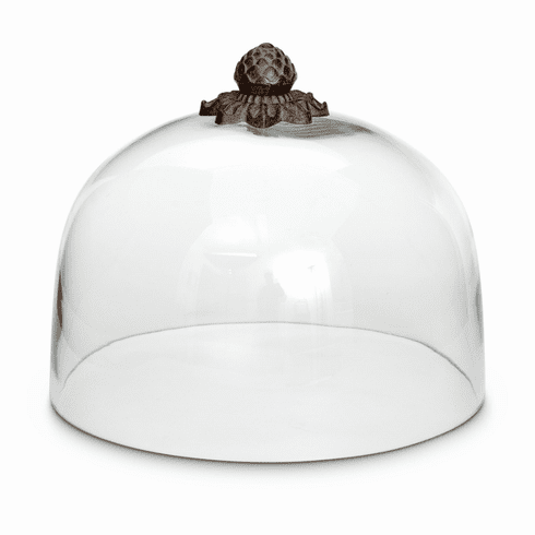 """GG Collection Acanthus Leaf Cake Dome with Metal top, 11""""Dia x 9""""H"""