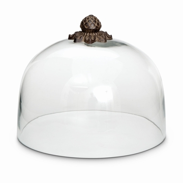 GG Collection Acanthus Leaf Cake Dome with Metal top, 11''Dia x 9''H