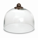 "GG Collection Acanthus Leaf Cake Dome with Metal top, 11""Dia x 9""H"
