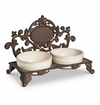 """GG Collection Acanthus Leaf Metal Pet Feeder with 2 Stoneware bowls. Personalize with 1.5"""" Letter (Sold Separately)"""
