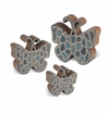 GG Collection Blue Butterfly Wooden Art (Set Of 3)