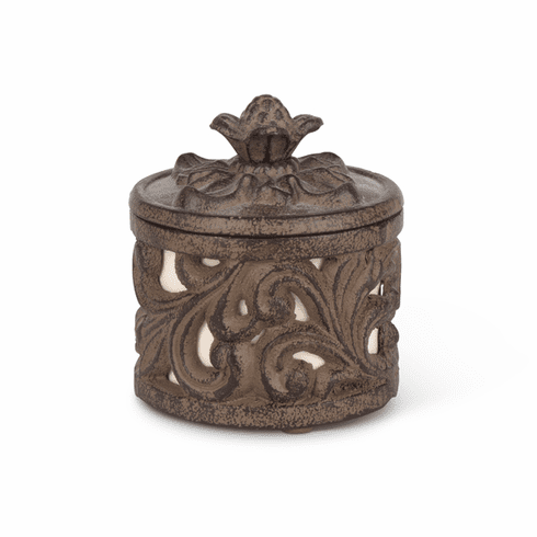 GG Collection Cream Stoneware Jewelry or Spice Cup in Metal Acanthus Leaf Holder
