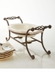 GG Collection Cream Stoneware Oval Chafing Dish with Metal Handled Base