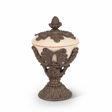 GG Collection Cream Stoneware Pedestal Nut Bowl with Acanthus Leaf Metal Base