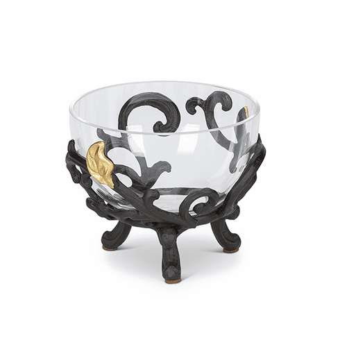 GG Collection Glass Bowl with Metal Gold Leaf Base