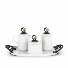 GG Collection Gold Leaf Coffee Set with Tray