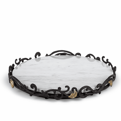 GG Collection Gold Leaf Marble Lazy Susan with Metal Base