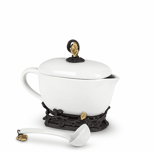 GG Collection Gold Leaf Sauce Boat with Ladle & Base