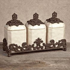 GG Collection Gracious Goods 3 Piece Cream Ceramic Canister Set with Metal Base