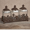 GG Collection Gracious Goods 3 Piece Glass Canister Set with Brown Metal Base